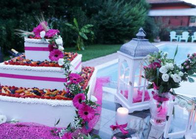 Torta fiori fucsia