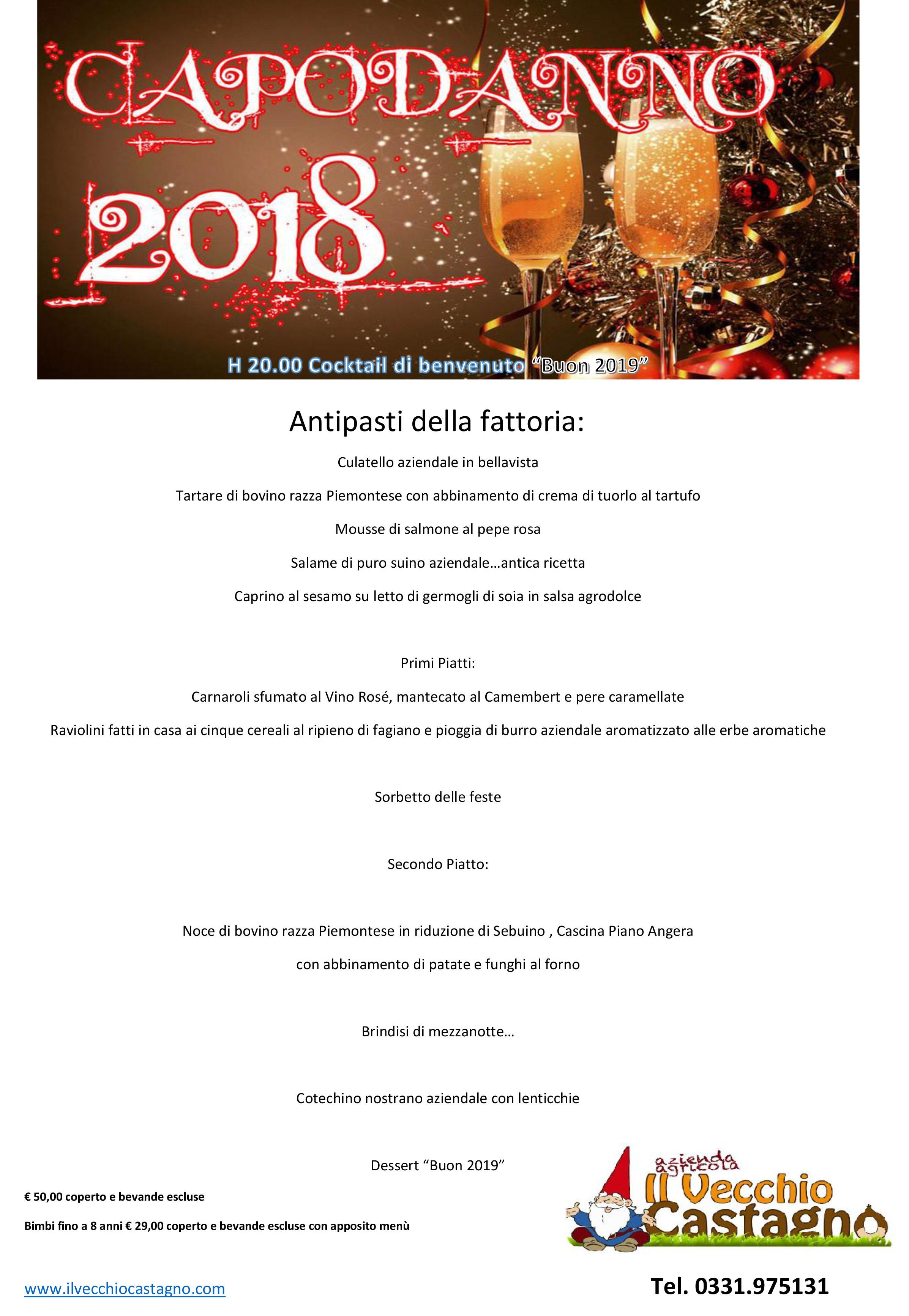 Menu Cenone Capodanno 2018